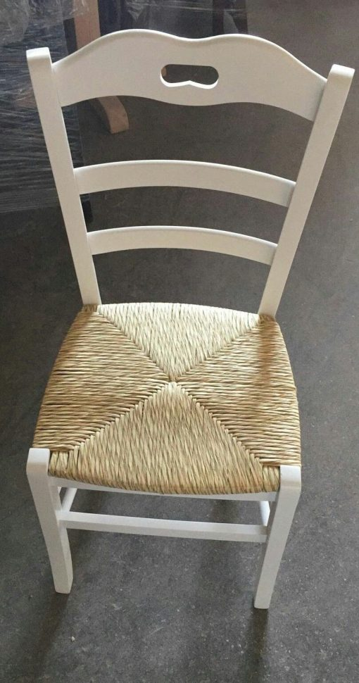 Sedia in Legno Paesana con seduta in paglia bianca