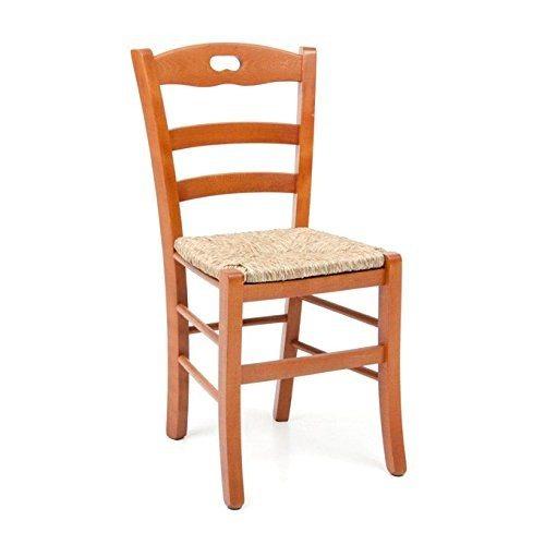 Sedia in Legno Paesana con seduta in paglia ciliegio